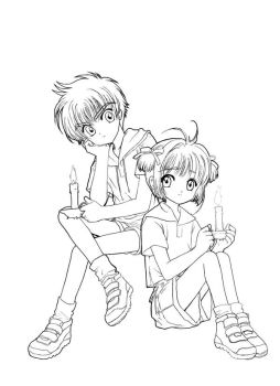 Sakura and Syaoran Lineart by Hitokirisan