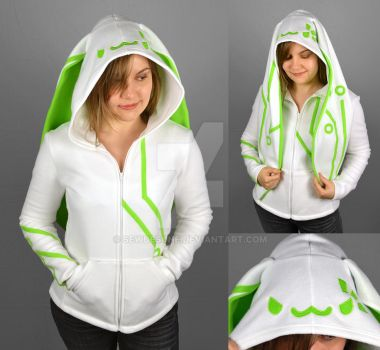 Cyberbun Hoodie in White and Green by SewDesuNe
