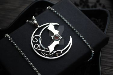 Bat on moon Silver pendant Garnet bat necklace by AstannaJewelry