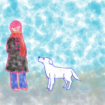 Self-Portrait with dog by CoralFan