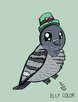 Cute Pigeon with a Green Hat by ellycolor