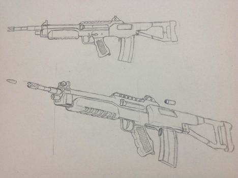 Selective-Fire Rifle (Concept Art) by LonelyGrayWolfie