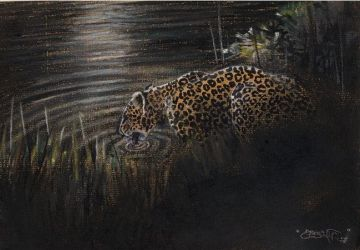 Leopard and lake by Weaslet