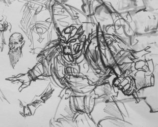 yet another Chaos Space Marine Sketch by KidneyShake