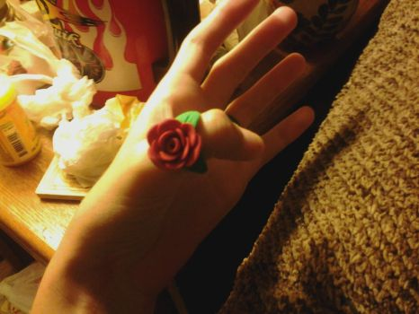 Clay Rose Ring by KittyVengeance6661