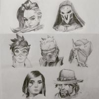 Overwatch Offense Heroes Sketch by zacharychua