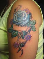 Rose and band tattoo by HeX-GrindeR