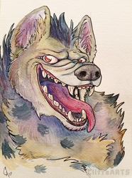 Hyena Watercolor by CliffeArts