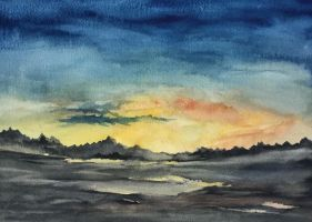 sunset over the wasteland.  Watercolour by Jennyben