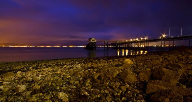 Mumbles pier by night by AngiWallace