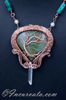 Wire Woven Chrysocolla Tree of LIfe Necklace by youvegotmaille