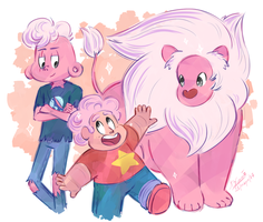 Two pink boys and lion - Steven Universe by Koizumi-Marichan