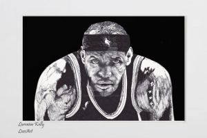 Lebron James Ink Drawing by LorraineKelly