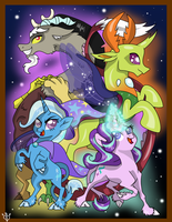 PRINT - Trixie Discord Thorax Starlight by Lightning-Bliss
