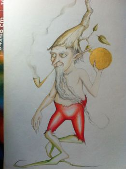 Duende con pipa - Hobgoblin with Smoking Pipe by Arcturus-90