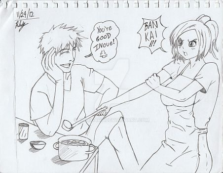 Dinner time with Ichigo and Inoue^^ by MrBigArt