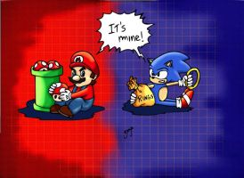 MARIO X SONIC by whomedera