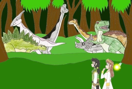 Auhsoj shows Aivilo and Goldine more dinosaurs by Animedalek1