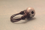Skull wire wrapped ring by SweetButEvil