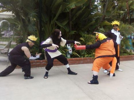 orochimaru vs my clones and me :D by Orbit16