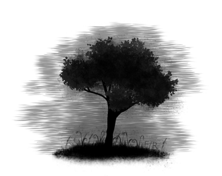 (digital black and white painting) misty tree by hesterfunhart