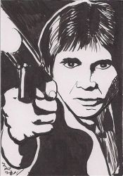 Han Solo Black and White Brush Pen by Purple-Pencil