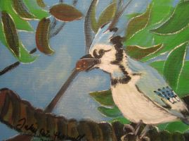 Blue Jay with Acorn by juliarita