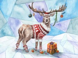 Christmas Deer by AnnaShell