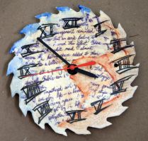 Painted Saw Clock by IllustrativeJack