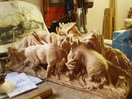 moose bull fighting in progress7 by woodcarve