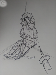 [Undertale Oc] Please don't again [sketch] by Domcia13