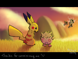 Pikachu and Togepi seeing a shiny Hoothoot