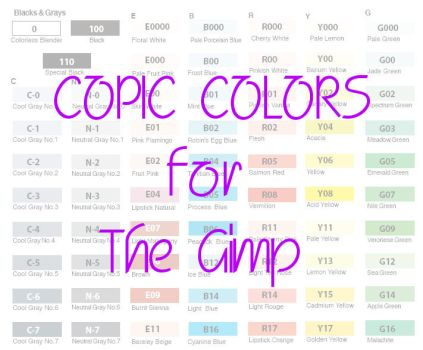 Copic Colors for the Gimp by ccolors