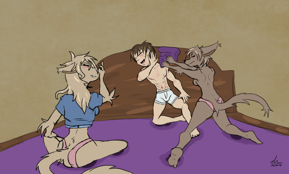 Request: Pillow Fight by Darwins-Evolution