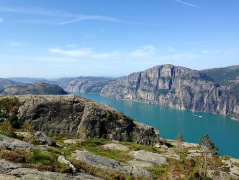 Preikestolen seen from the other side of the fjord by T2norway