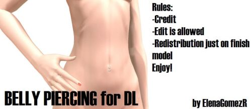MMD Belly Piercing for DL by ElenaGomezR
