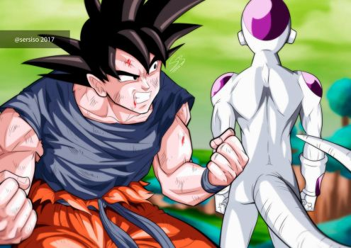 Goku and Freezer in Namek by Sersiso