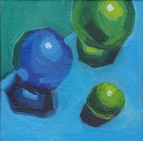 Blue and Green Marbles by JMNeedhamArt