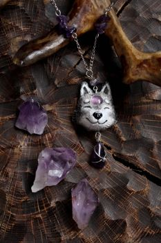 Wolf Necklace, Amethystium Magic Pendant by Lavenderwitch