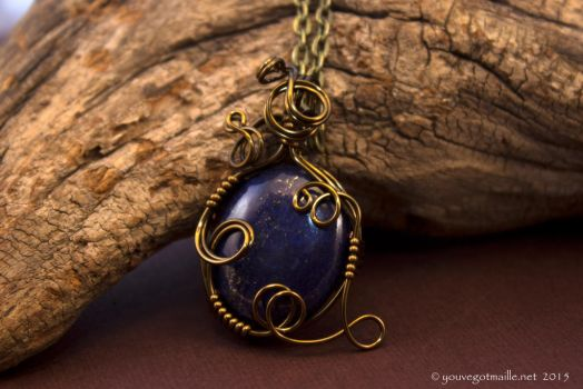 Mystic Lapis Lazuli Wire Wrapped Pendant by youvegotmaille