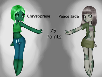 (OPEN 75 POINTS) Chrysoprase and Peace Jade by All-The-Fish-Here