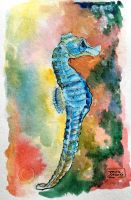 World Watercolor Month - Day 5 (Seahorse) by Harmony1965