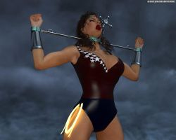 Wonder Girl in spreader bar with gag by thejpeger