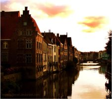 Brujas Evening View by mywonderart