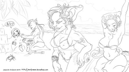 line art sunday in the beach by Jauntymania