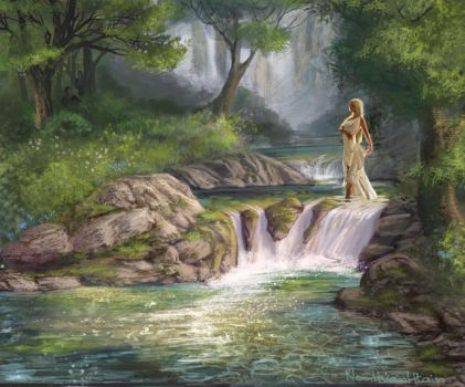 Nymph in forest stream by NoinHvainHtain