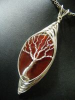 Silver Herringbone And Red Agate Tree Pendant by BacktoEarthCreations