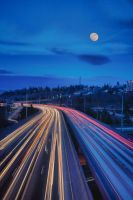 Moon and Traffic by arnaudperret