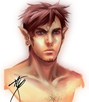Male Elf Sketch (Updated) by tracetincin