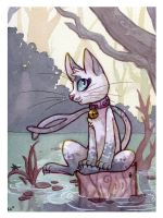 kitty on a log by owlburrow